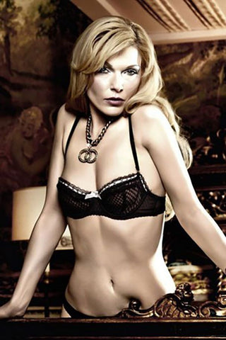 Baci Black Patterend Mesh and Lace Demi Bra with Underwear