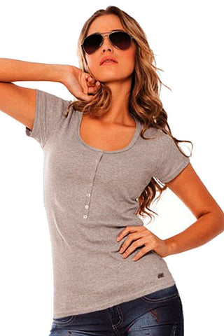Fiory Grey Ribbed Henley Tee