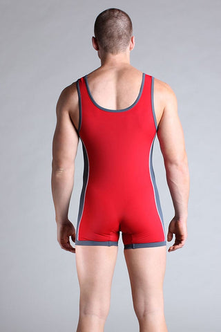 Timoteo Red & Grey Workout Singlet
