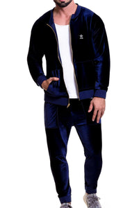 Jor Navy-Blue Velvet Zip-Jacket