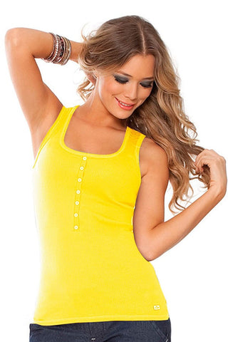 Fiory Yellow Ribbed Henley Tank Top