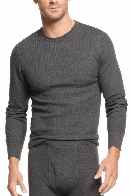 Alfani Charcoal Thermal Knit Waffle Crew-Neck Shirt - CheapUndies.com