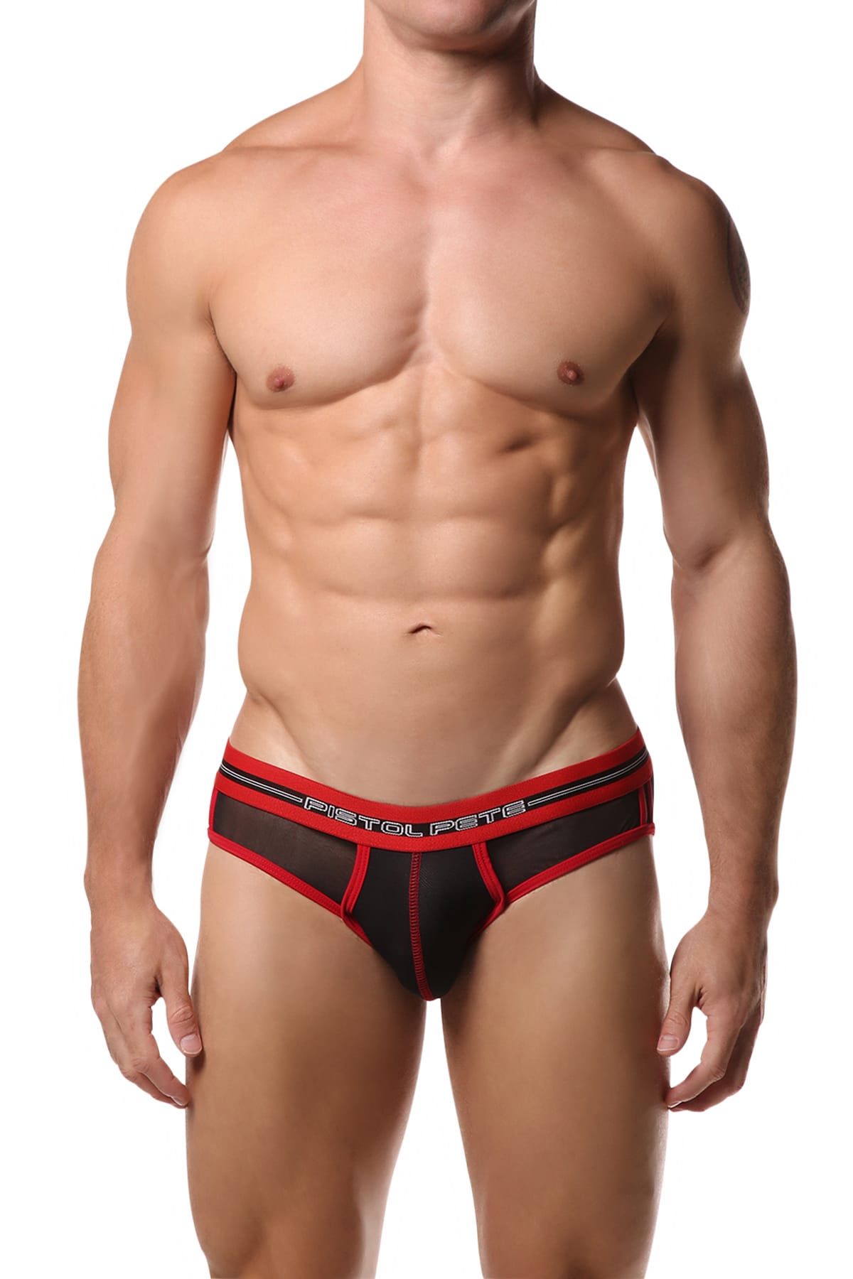 Pistol Pete Black & Red Mesh Brief