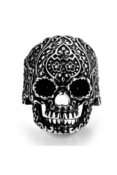 Gomaya Aztec Skull Stainless Steel Ring - CheapUndies.com