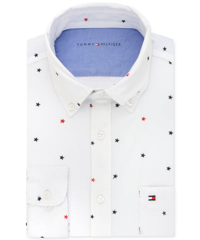 Men's Tommy Hilfiger Slim-Fit White Star Embroidered Shirt XLarge 17-17 1/2 - CheapUndies.com
