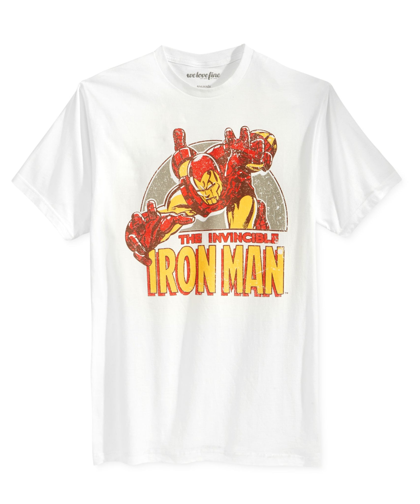 Mighty Fine Iron Man Swoop Graphic T-Shirt White M