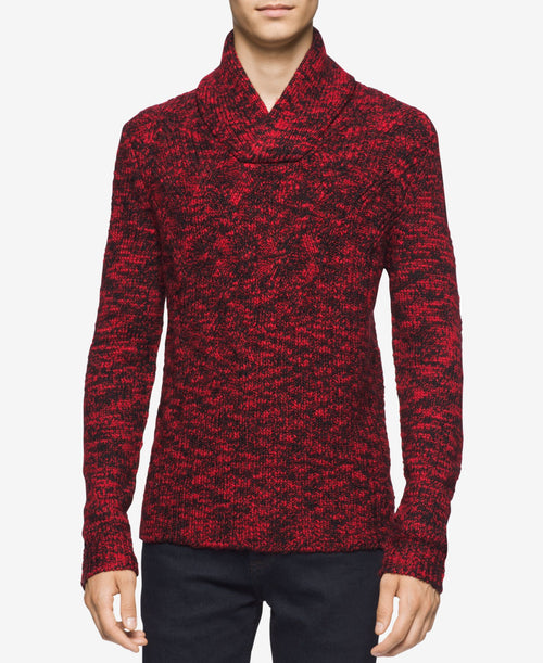 Calvin Klein Asymmetric Cable-Knit Shawl-Collar Sweater XXLarge Black/Red Combo - CheapUndies.com