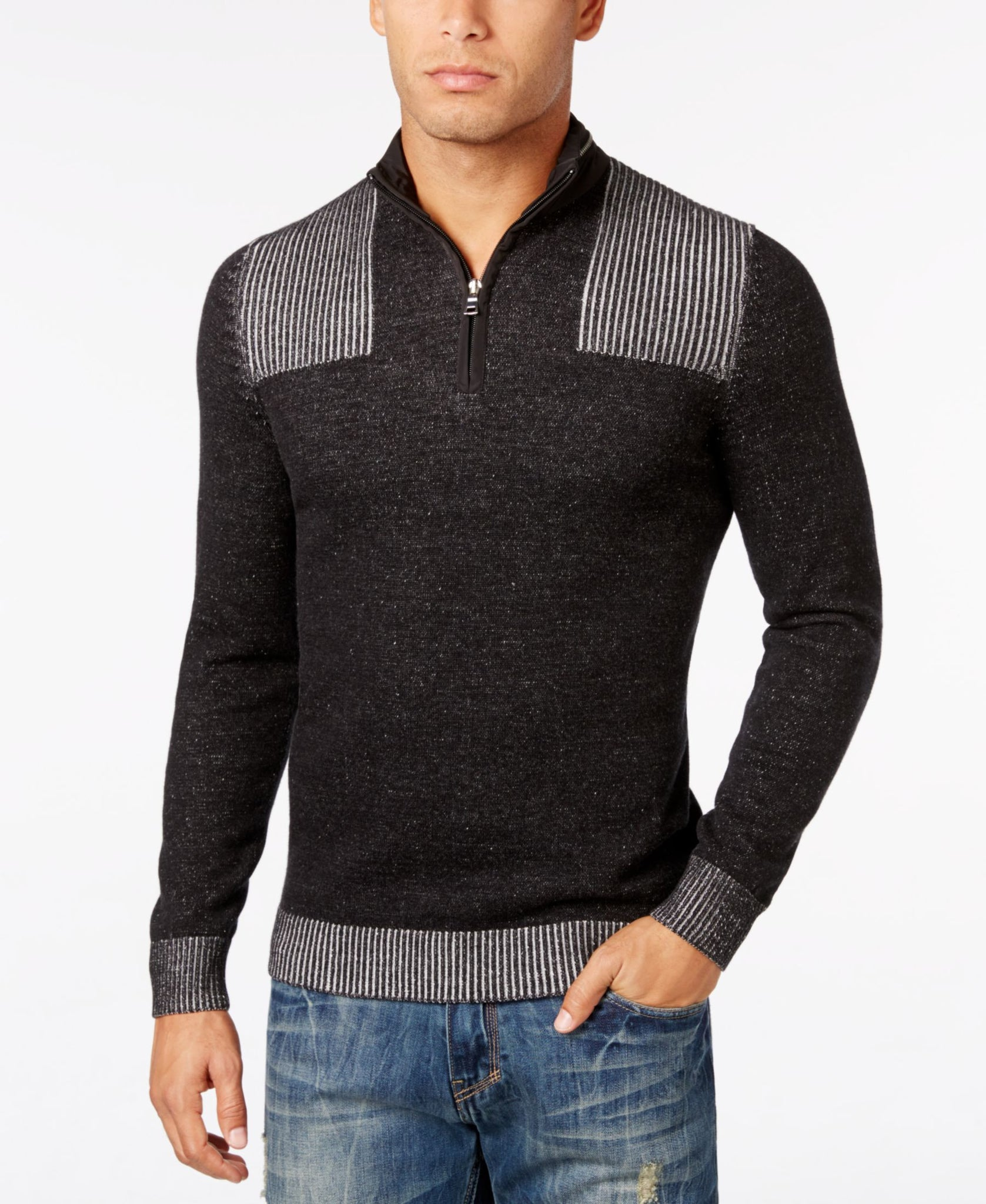 INC Medium 1/2 Zip Ribbed Knit Trim Sweater Black Medium