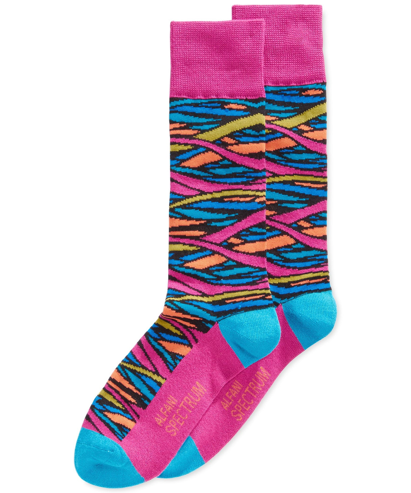 Alfani Stained Glass Colorblock Knit Crew Socks