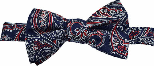 Countess Mara Martin Paisley Pre-Tied Bow Tie Navy - CheapUndies.com
