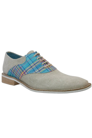 Giorgio Brutini Teal Plaid & Natural Canvas Oxford