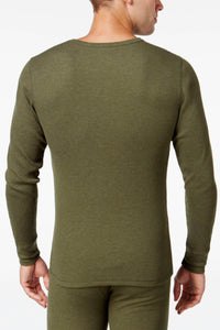 Alfani Fatigue Green Thermal Knit Waffle Crew-Neck Shirt