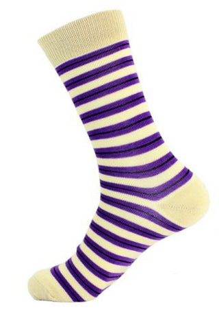 FineFit Purple & Beige Striped Crew Sock