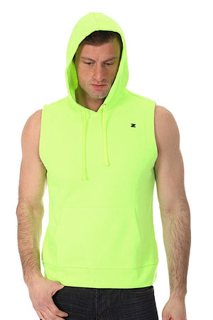 Zutoq Lime Green Zasted Sleeveless Hoodie