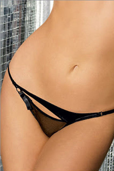 Fredericks Of Hollywood Black Open Thong