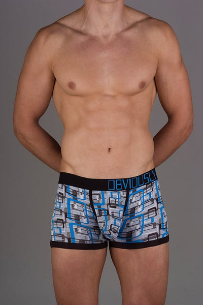 Obviously Cyan Geometric Low Rise Boxer Brief