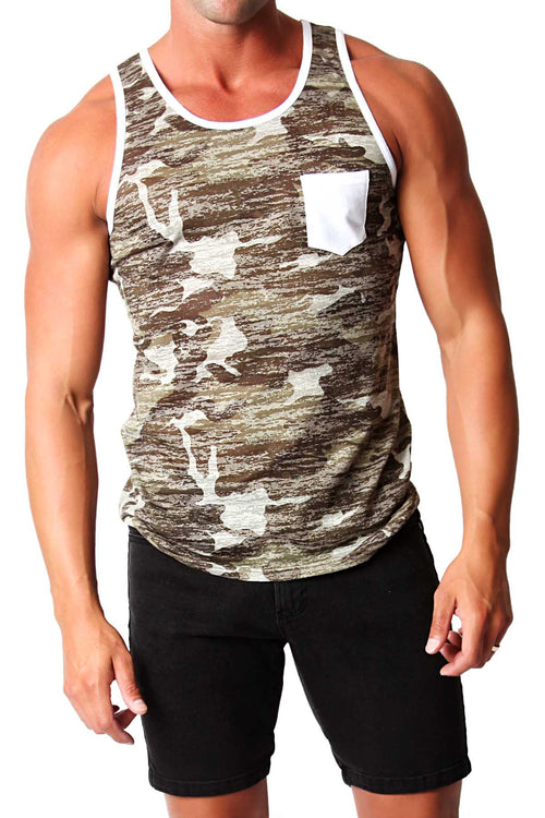 Timoteo Camouflage & White Oceanside Tank - CheapUndies.com