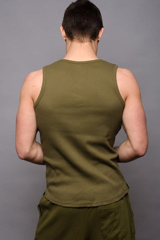 Jocko Army Green Ribbed Henley Tank
