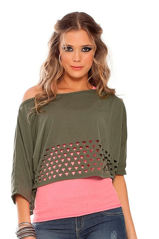 Fiory Green Laser Cut Boat Neck Top