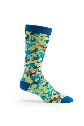 Ozone Turquoise Sinister Floral Calf Sock
