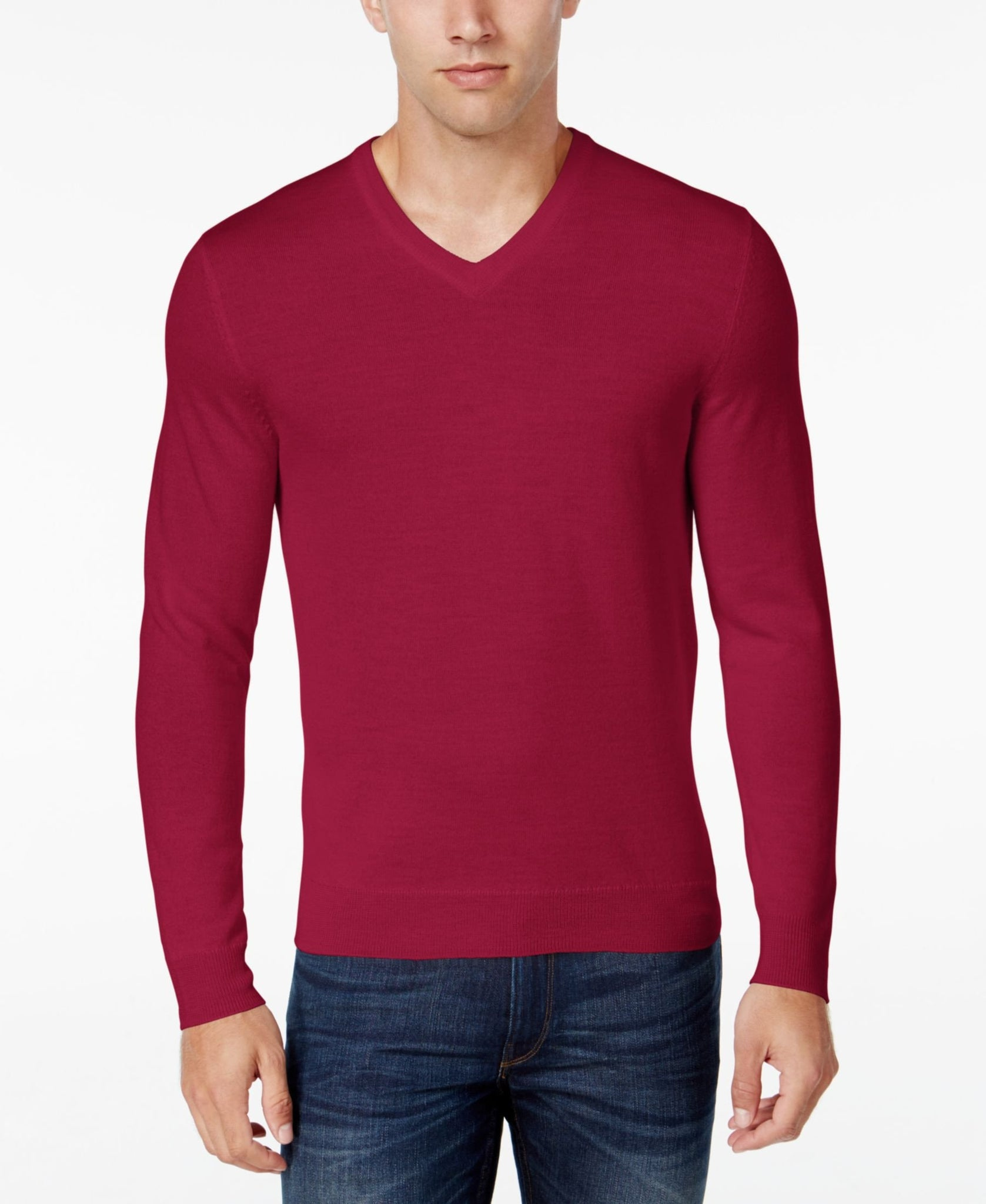 Club Room Merino Blend Pullover Sweater Cherry XLarge