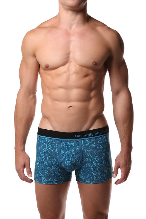 Unsimply Stitched Blue Aztec Trunk - CheapUndies.com