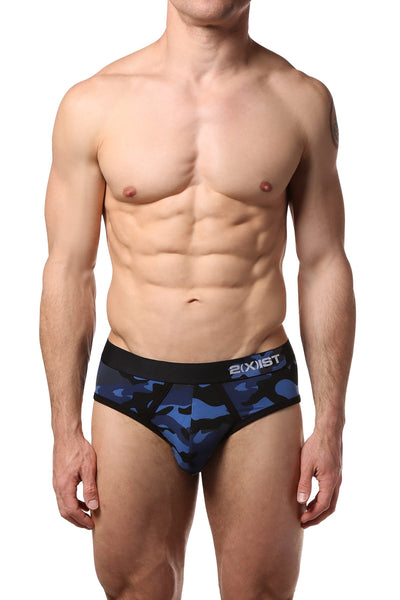 2(X)IST Sailor-Navy Camo Graphic Cotton No-Show Brief - CheapUndies.com