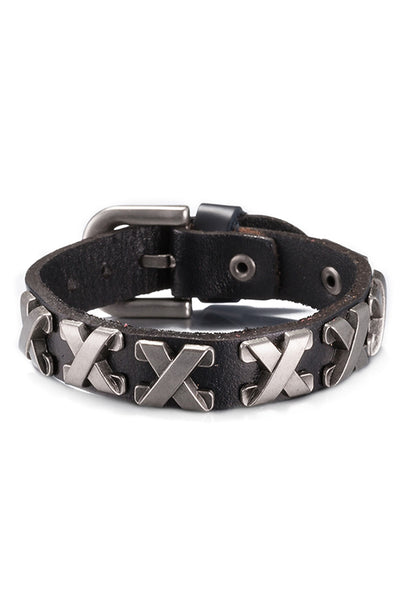 "Black Genuine Leather ""X"" Bracelet - CheapUndies.com"