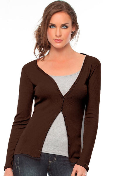 Fiory Brown Ribbed Cardigan