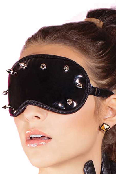 Coquette Black Wet-Look Studded Eye Mask - CheapUndies.com