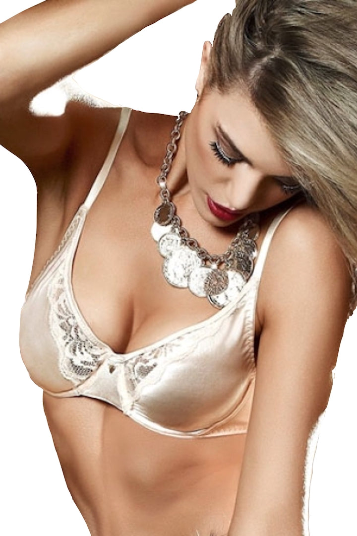 Baci Cream Satin and Lace Bra