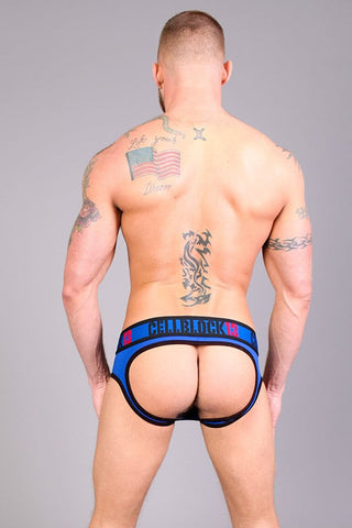 Timoteo Blue & Black Lace-Up Riot Jock Brief