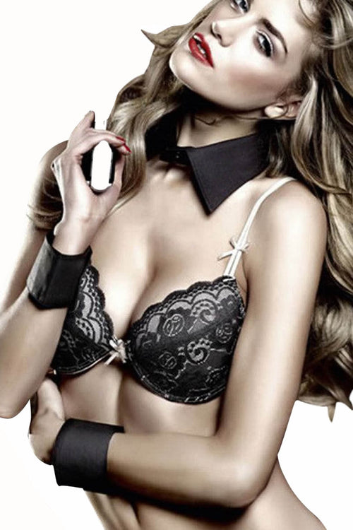 Baci Black French Cuff and Collar Set - CheapUndies.com