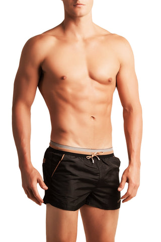 2EROS Sleek Black Signature Stripe Swim Short