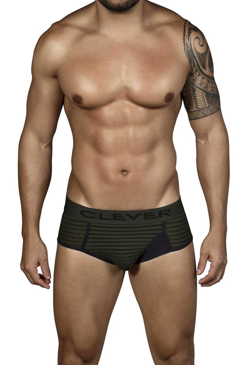 Clever Army-Green Kiwi Open-Fly Brief - CheapUndies.com