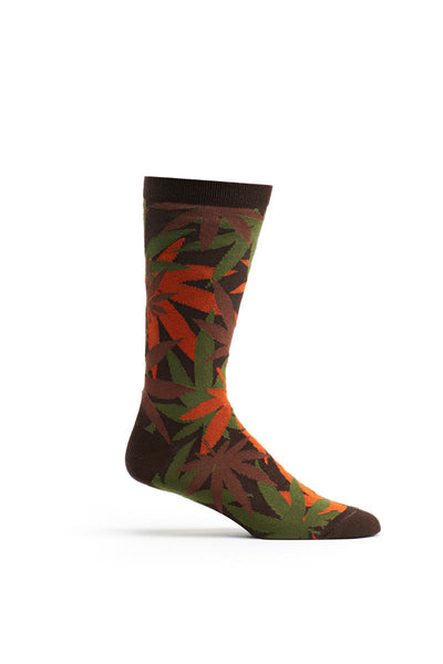 Ozone Brown Weed Camo Calf Sock