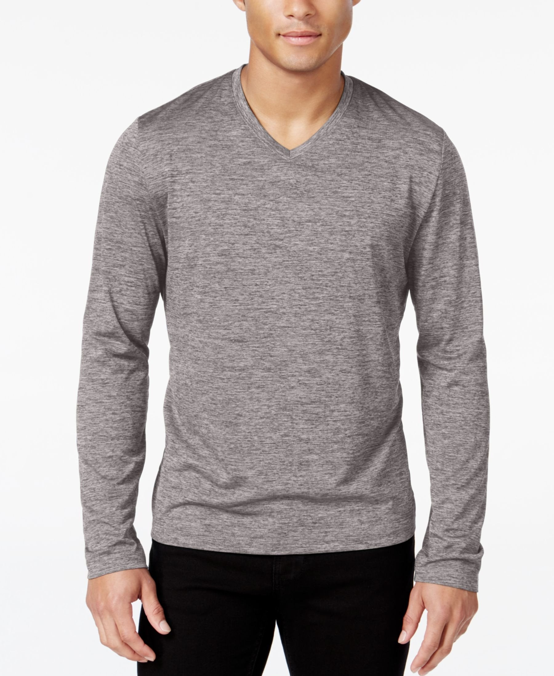 0fab9fd2f681 Alfani Men's Big & Tall Performance V-Neck Long-Sleeve T-Shirt | 57 ...
