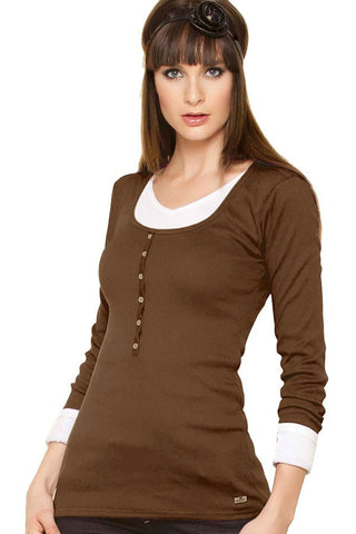 Fiory Brown Ribbed Long Sleeve Henley