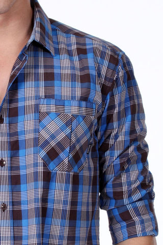ONE90ONE Blue & Brown Plaid Button Up