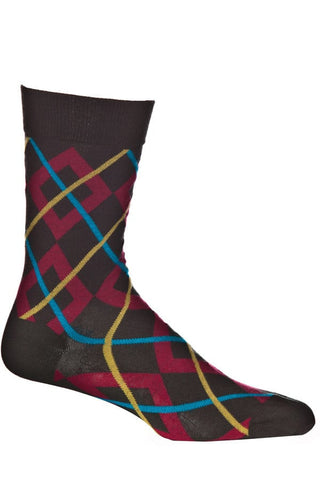 Ozone Green Square Weave Argyle Calf Sock