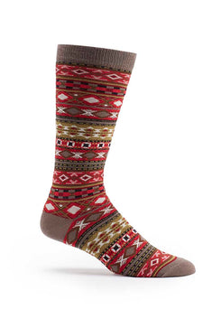 Ozone Red Men's Fair Isle Crew Sock