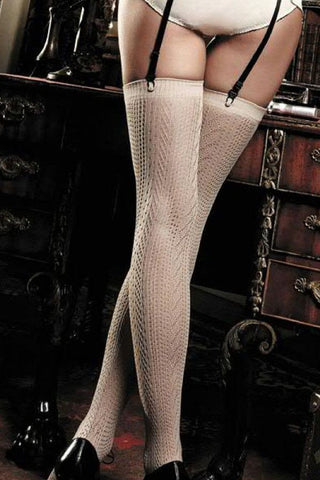 Baci Beige Jacquard Thigh High