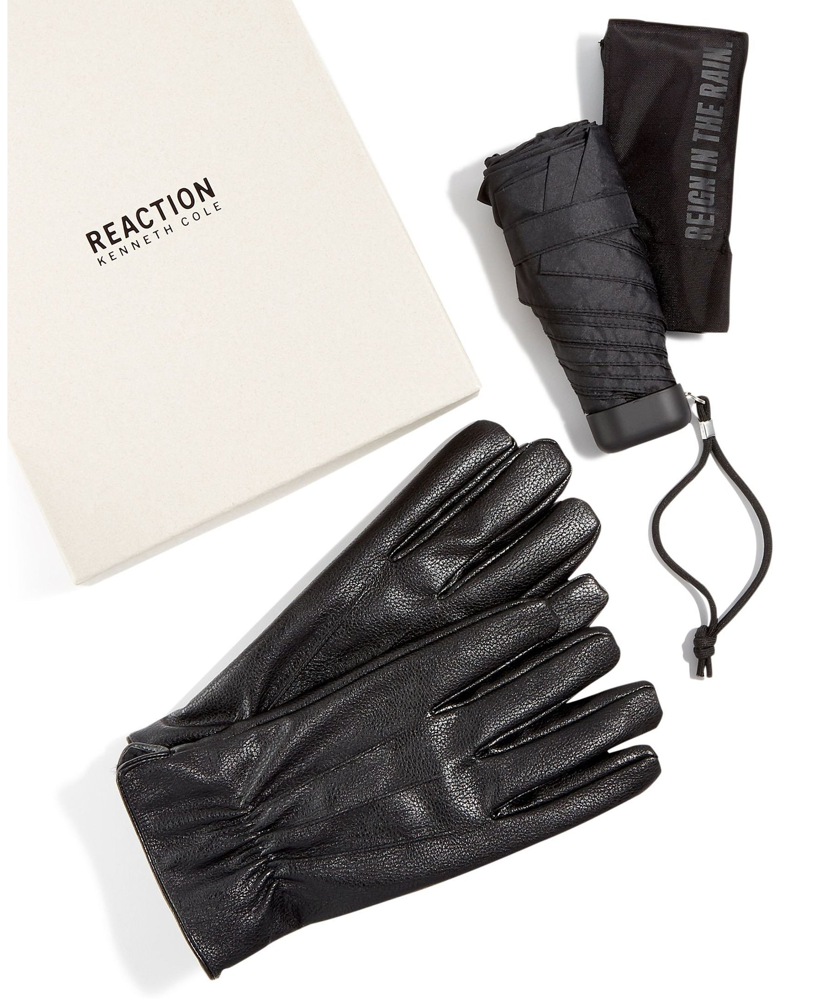 Kenneth Cole Reaction Leather Gloves & Umbrella Gift Set Large