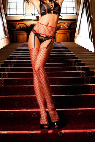 Baci Red Industrial Net Garter with Thigh High