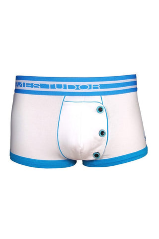 James Tudor White & Blue Half Fall Boxer Brief
