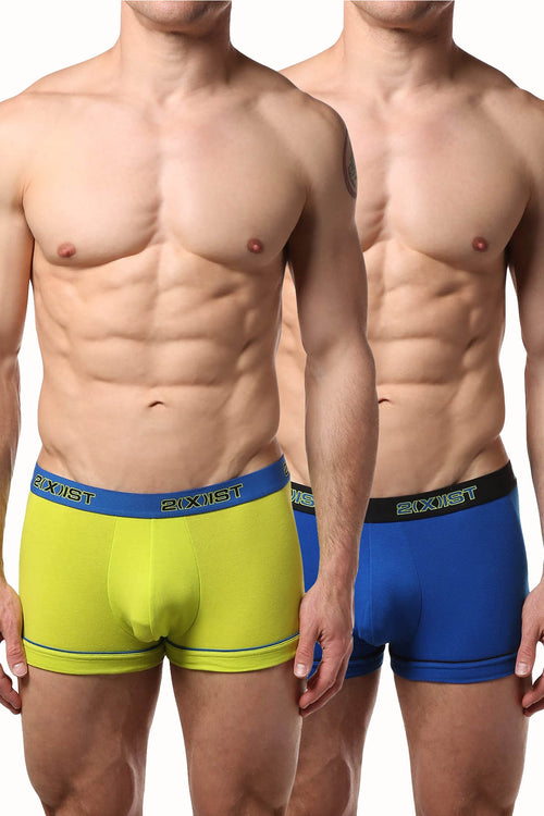 2(X)IST Lime & Blue Performance Cotton Trunk 2-Pack - CheapUndies.com