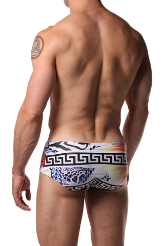 Danny Miami White Print Swim Brief