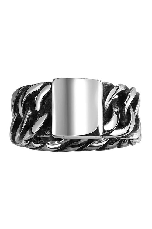 Gomaya Silver Chain & Plate Stainless Steel Ring - CheapUndies.com