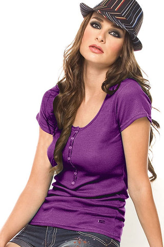 Fiory Purple Ribbed Henley Tee