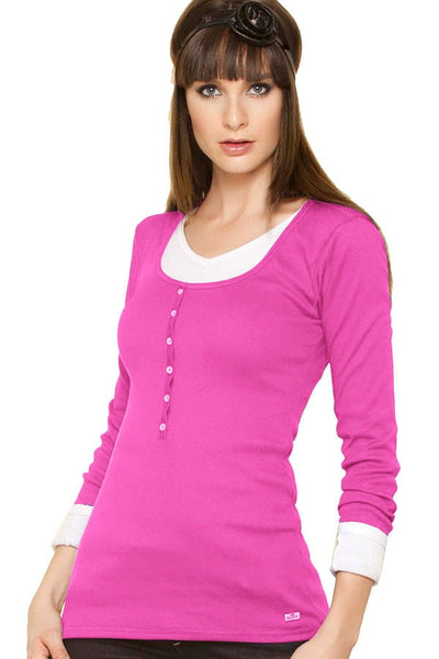 Fiory Fuchsia Ribbed Long Sleeve Henley